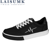 цена на 2019 LAISUMK Spring Summer Canvas Shoes Men Lace-Up Men Casual Shoes Male Brand Fashion Sneakers Flat Loafers Shoes