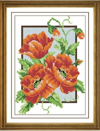Blooming Amapolas Flores 14ct Contados Kits De Punto De Cruz Para El