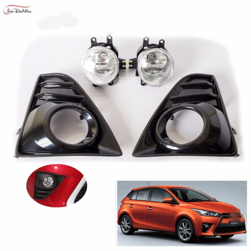 JanDeNing Car Fog Lights For TOYOTA YARIS 2014-2016 Clear Front Bumper Fog Lamp Cover Trim Replace Assembly kit black (one Pair) 1set front chrome housing clear lens driving bumper fog light lamp grille cover switch line kit for 2007 2009 toyota camry