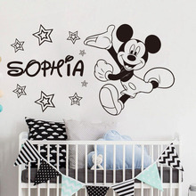 Nursery Cartoon Custom Mouse Wall Sticker Personalized Name Mickey Baby Room Decoration Art Design Poster W54