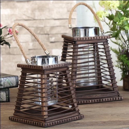 Bougeoirs nordiques en bois chandelier en acier inoxydable cheval lampe trapézoïdale Portable chandelier