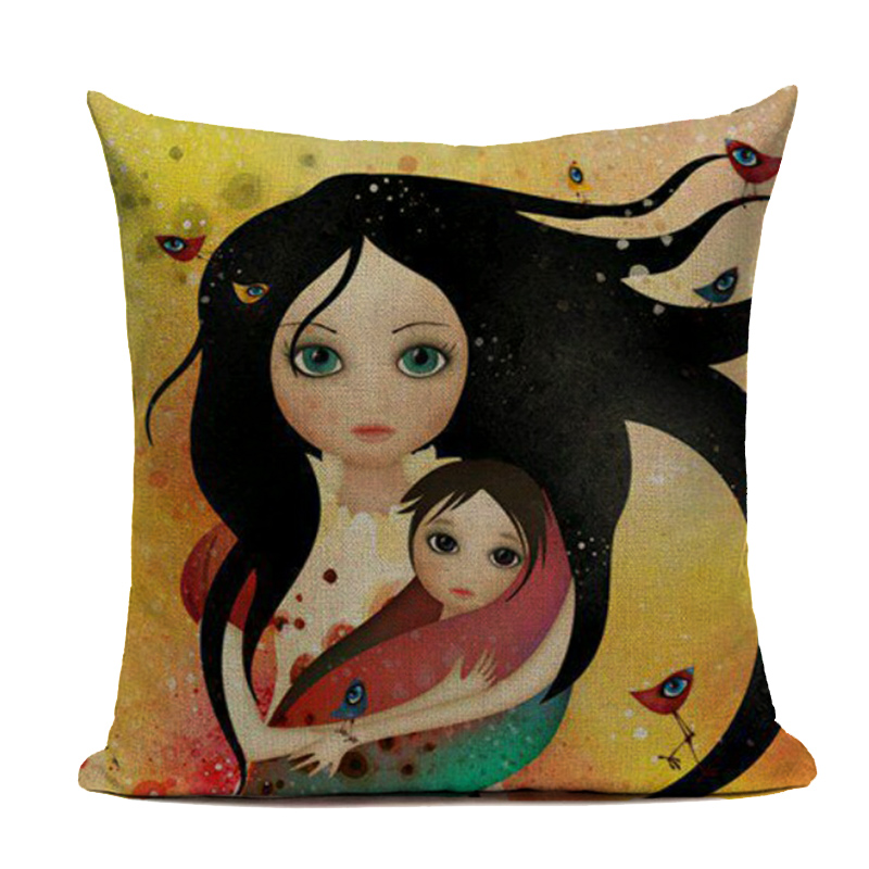 Maiyubo wholesale vintage Mother baby printed Cotton Linen Cushion Cover Home Decor Pillowcase Sofa Cushion Case drop shipping