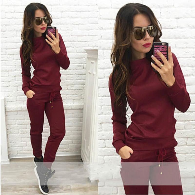 New Women 2Pcs Solid Tracksuit Hoodies Sweatshirt Pants Sets  Wear Suit Pullover