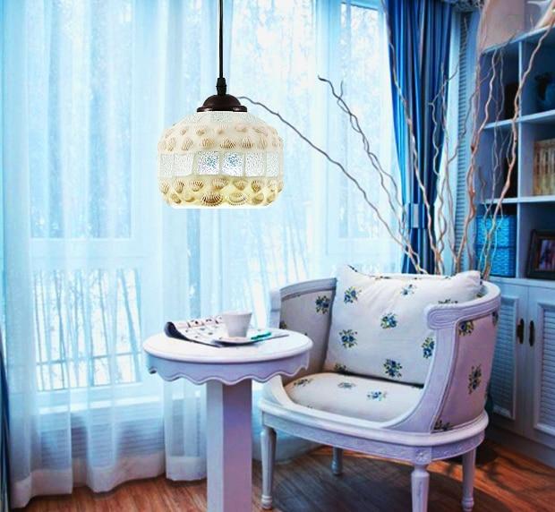 ФОТО Mediterranean Sea romatic shell glass Pendant Lights Handmade creative E27 LED single lamp for parlor&stairs&porch&cafe ZLDD089