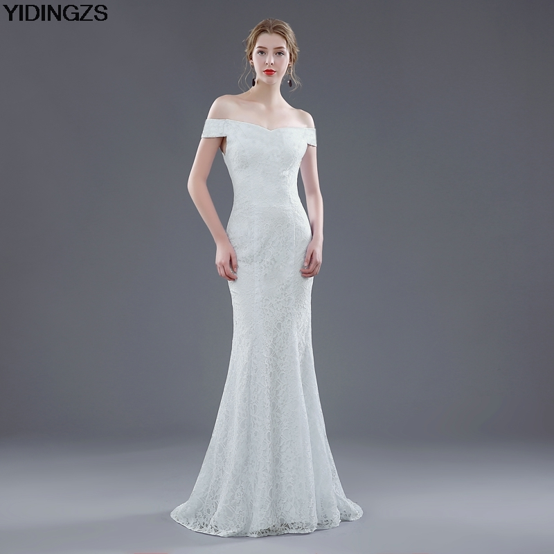 Elegant White Ivory Lace Mermaid Wedding Dress 1