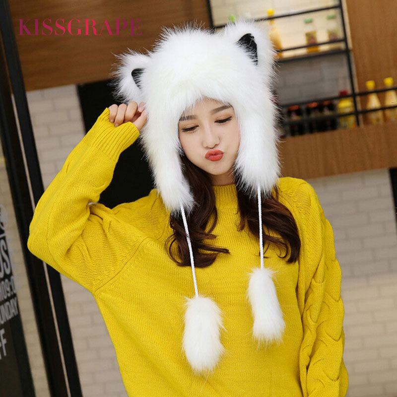 New Winter Women's Warm Caps Fox Fur Hats With Ears Female Kids Girls Cartoon Festival Novelty Caps Beanies Soft Lovely Hats
