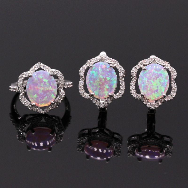 Elegant Crystal Charm Pink Fire Opal Zirconia Earring Finger Ring Set For Ladies Party Gifts