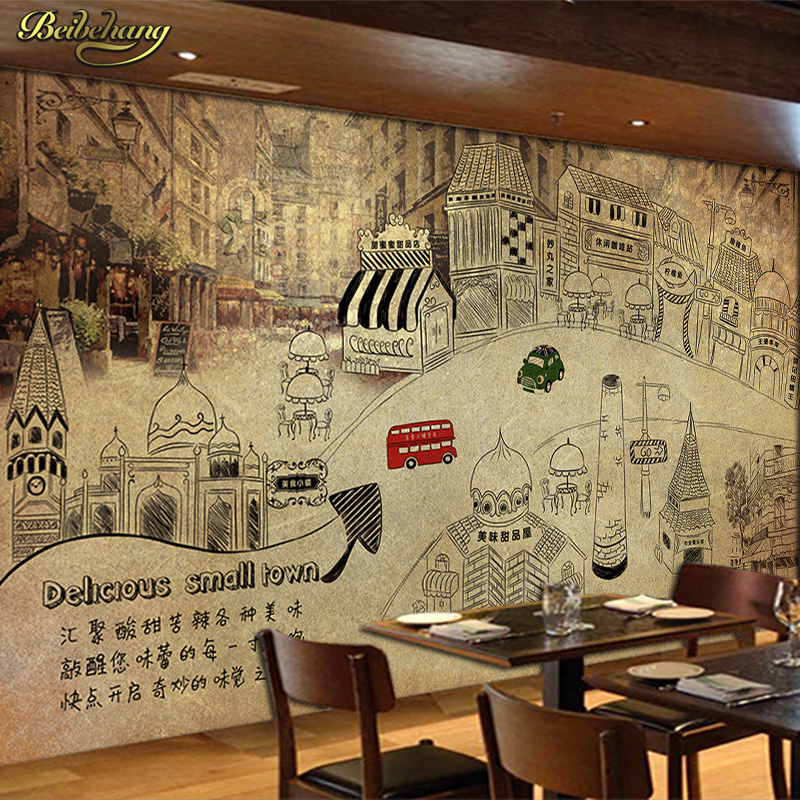 3d Wallpaper For Walls Price Beibehang Hand Painted Retro Food Town Street Wall