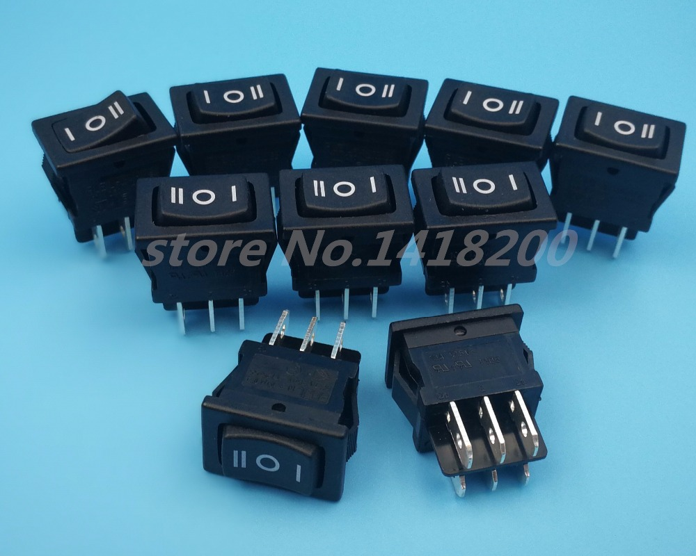 10Pcs High quality Black RLEIL RL3-10 6Pin 3Position ON-OFF-ON DPDT Mini Rocker Switch 1pcs 39 29mm red led kcd4 6pin snap in on off on position boat rocker switch 16a 250v copper feet waterproof switch dpdt