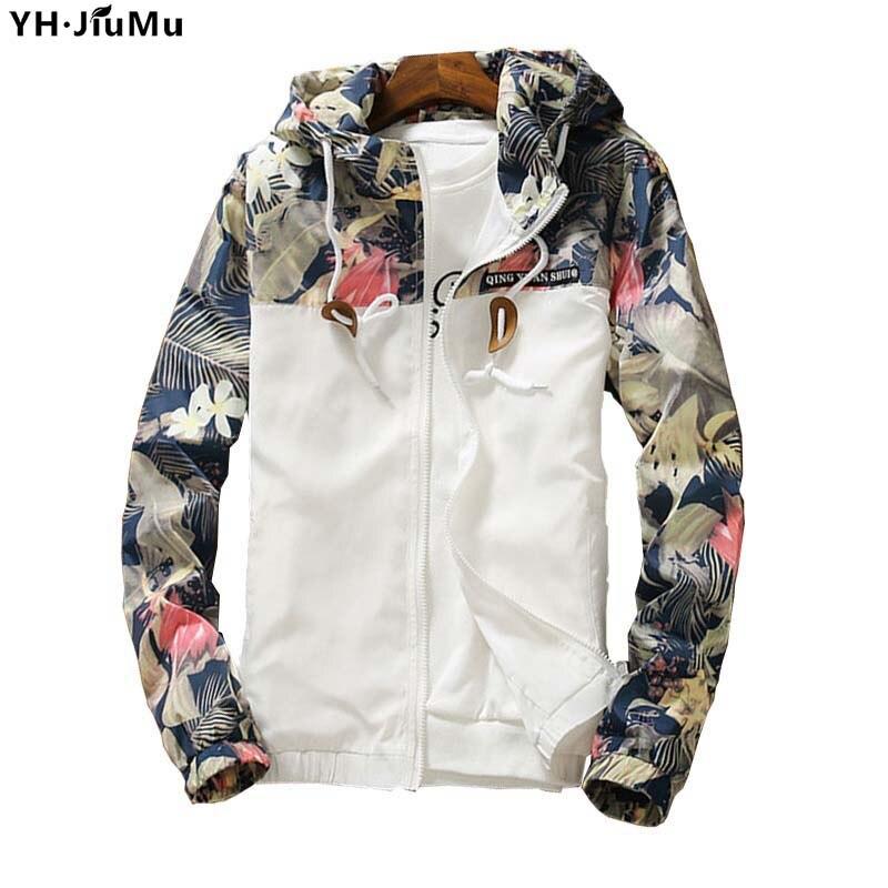 YH.JiuMu 2018 hombres chaquetas delgadas de camuflaje Floral Casual - Ropa de hombre
