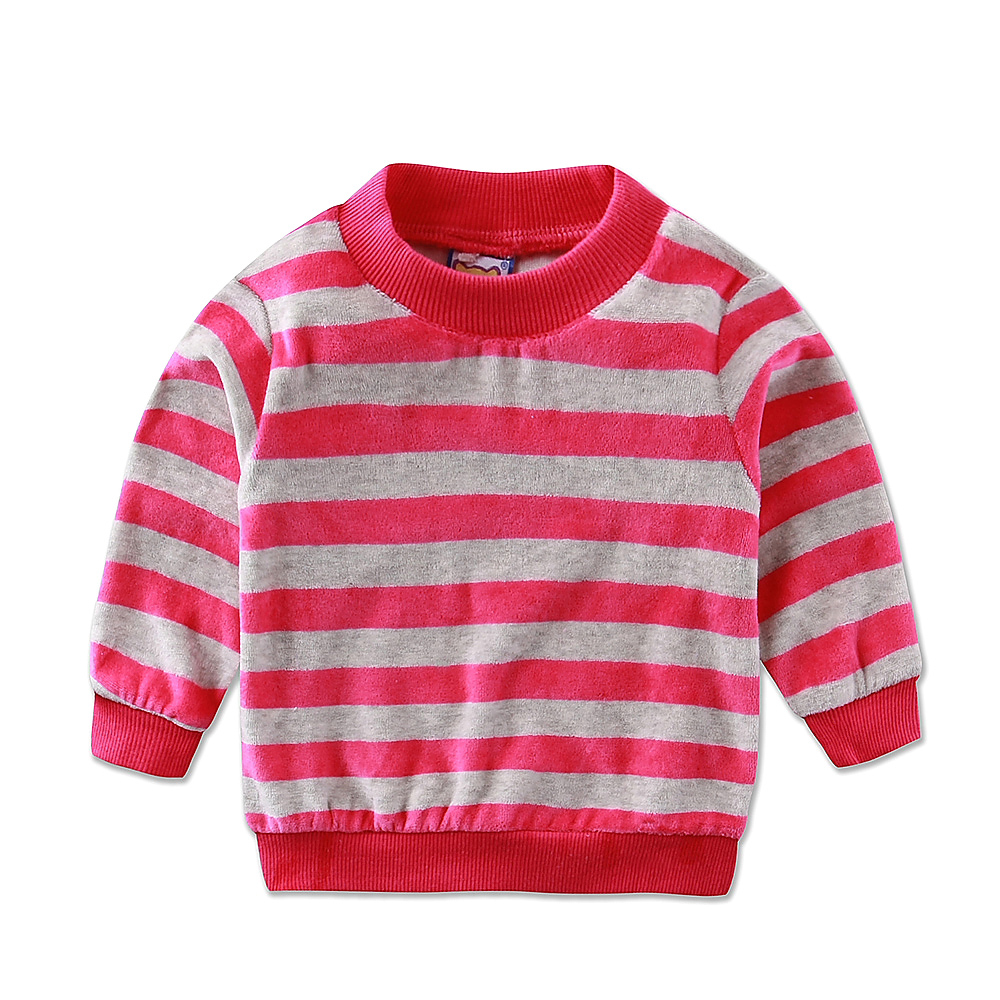 2017 Little Q Baby Velour Long Sleeve Blouse Spring O Neck Striped Shirt Newborn Girls Undershirts Toddler clothes