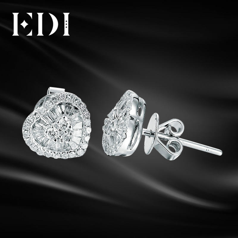 87e8d4091b553 US $617.48 14% OFF|EDI Luxury 0.42ct Diamond Stud Earrings 14K 585 White  Gold Double Halo Heart Shape Pave Emerald Cut Diamond Earrings For Women-in  ...