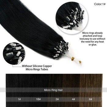 """Neitsi Machine Gemaakt Remy Rechte Loop Micro Ring Hair Extensions 100% Human Micro Kralen Links Haar 16 """"40 Cm 1 G/s 21 Kleuren"""