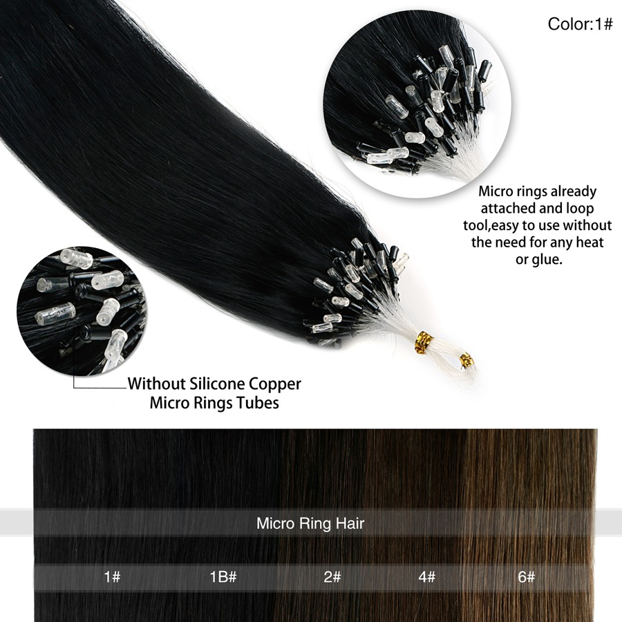 Neitsi Straight Indian Loop Micro Ring Hair 100% Human Micro Bead - Menneskehår (hvid) - Foto 4