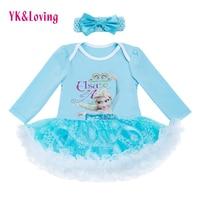 Newborn Baby Girl Costumes Kids Rompers Elsa Princess Long Sleeve Tutu Dress 4pcs Set Carters Original