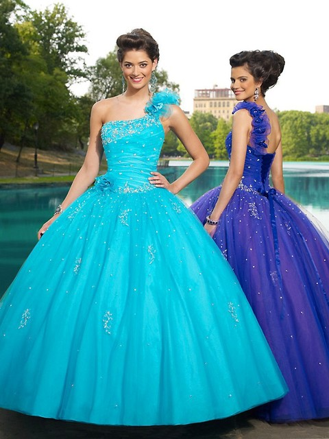 5e458c62ebc Blue Purple Quinceanera Decorations One Shoulder with Ruffles Applique  Sequined Tulle Quinceanera Dresses Lace Up Ball Gowns