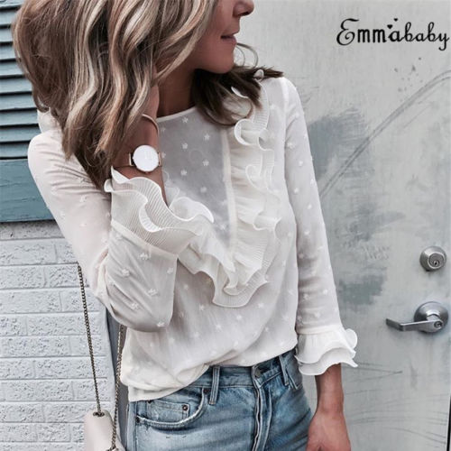 Lace Sexy Shirt Womens Ladies Fashion Ruffle Frill Long Sleeve Casual Top Shirt Blouse