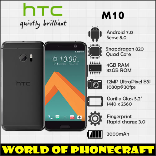 HTC 10 M10 4GB RAM 32GB ROM Quad Core Snapdragon 820 12MP Camera NFC Nano SIM Rapid Charger 3.0 smartphone