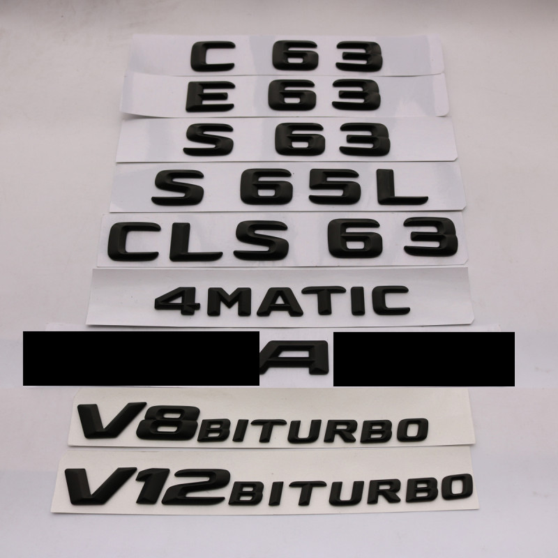 3D ABS Black E63 C63 E63 S65L CLS63 Emblem Rear Trunk Number Letter Badge Sticker For Mercedes Benz E C Classic 4Matic AMG W204 image