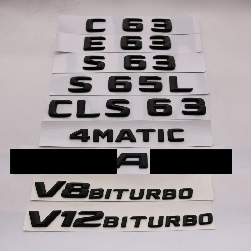 3D ABS שחור E63 C63 E63 S65L CLS63 סמל אחורי תא מטען מספר מכתב תג מדבקת עבור מרצדס בנץ E C קלאסי 4 Matic AMG W204-במדבקות לרכב מתוך רכבים ואופנועים באתר