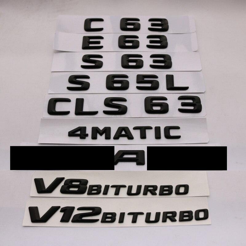 3D ABS Schwarz E63 C63 E63 S65L CLS63 Emblem Hinten Stamm Anzahl Brief Abzeichen Aufkleber Für Mercedes Benz E C klassische 4 Matic AMG W204