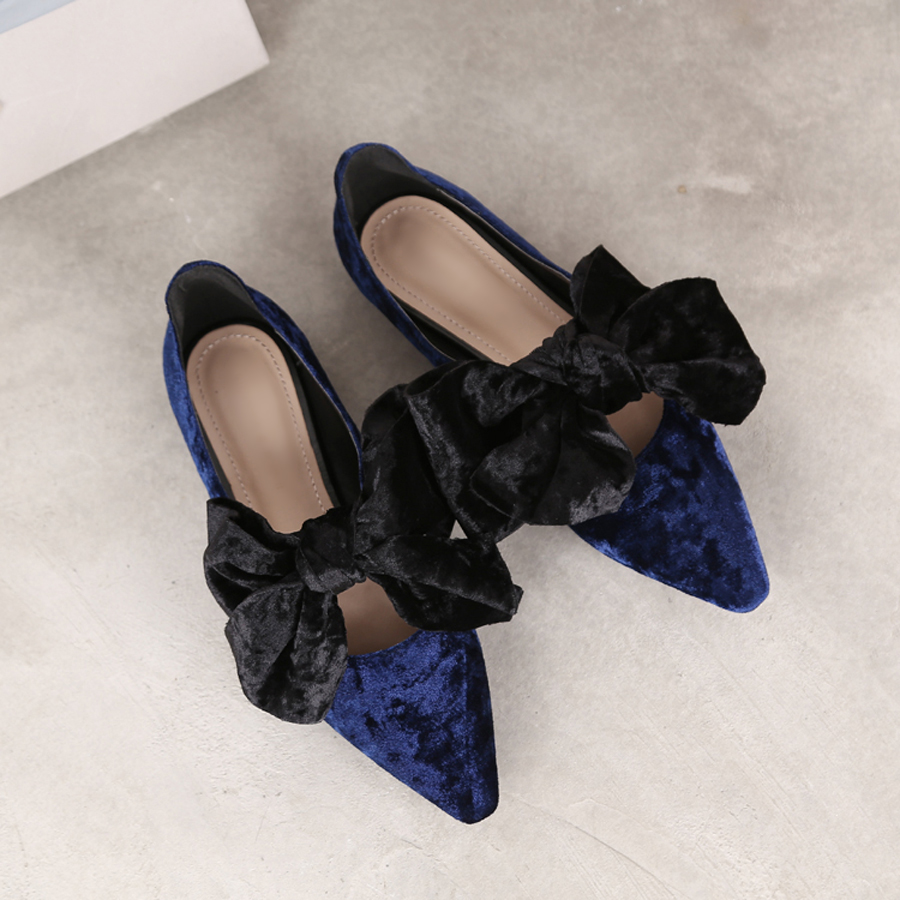 famous designer velvet flat shoes women big bow ballet flats back strap Mules plus size 42 zapatos de mujer de moda  y424 power knee stabilizer pads lazada