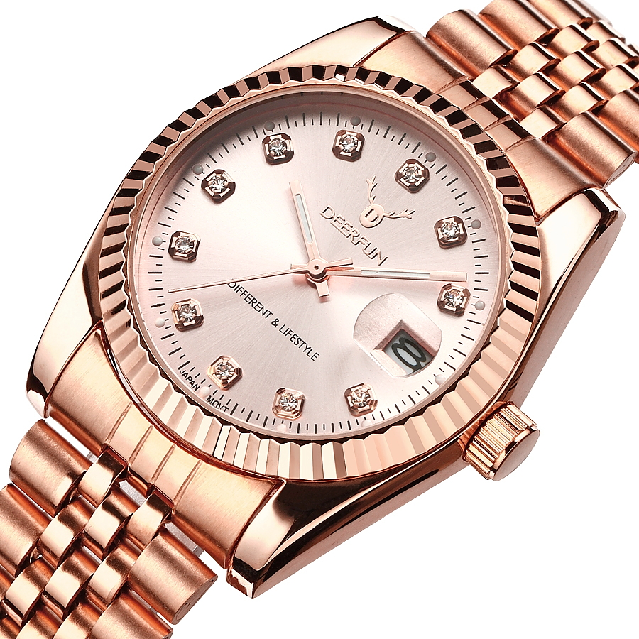 Famous Brand Fashion Luxury  Steel Metal band ROSE GOLD  Bracelet watch for Men and Women Gift Dress Watches relogio masculino