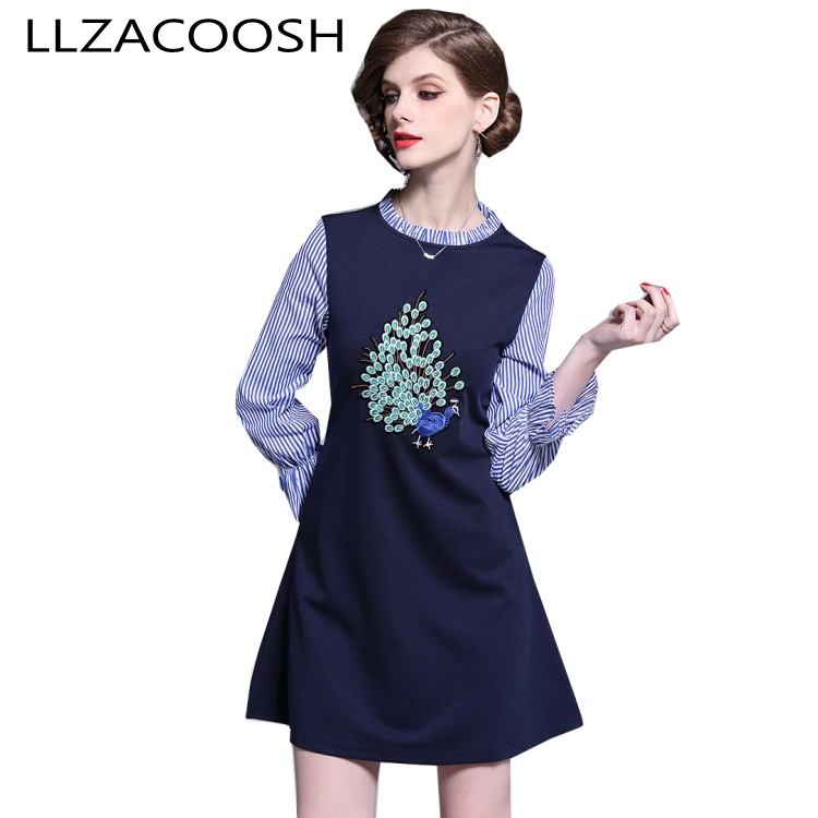 Spring Fashion Women Blue Striped patchwork peacock Embroidery Dress Vestidos Mujer Elegant Vestidos Casual Party Dresses