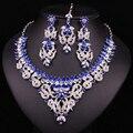 O Perfeito De Cristal Indiano Testa Noiva exclusivo Colar Coleção Brinco Branco Banhado A Ouro Conjunto de Jóias Para O Partido Do Baile de Finalistas