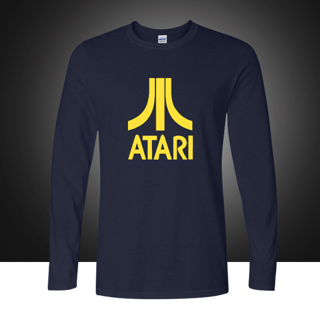 2017 Outono Moda Pop Atari Impressa Algodão T-shirt Dos Homens Em Torno Do Pescoço de Mangas Compridas T camisas Soltas Plus Size