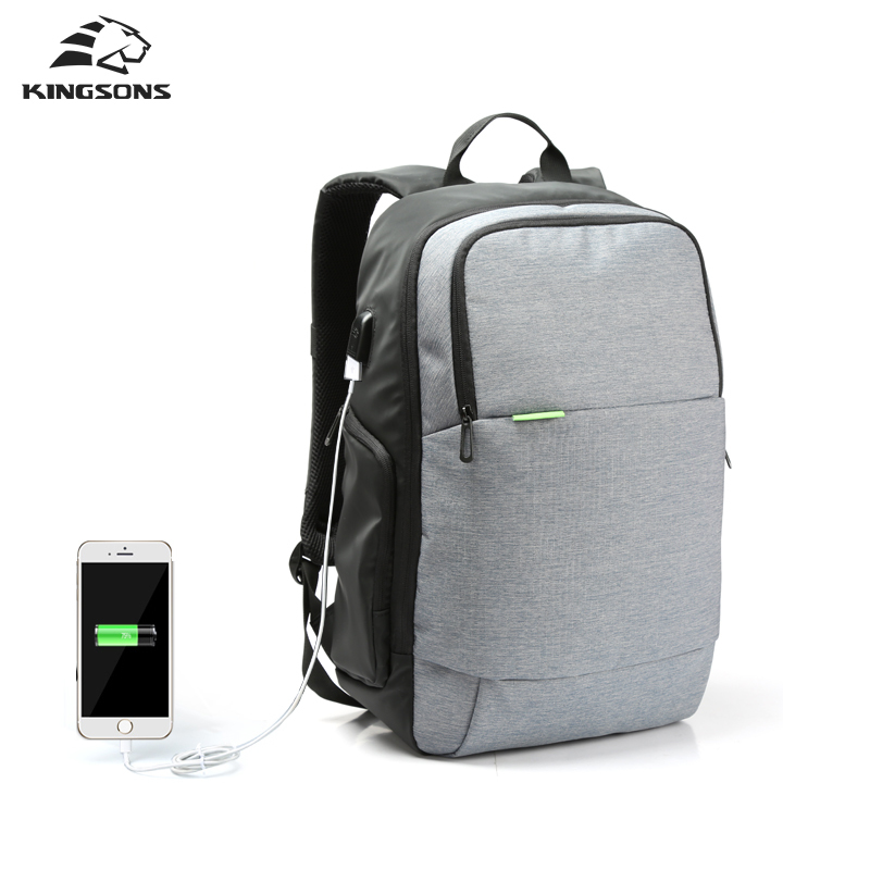 Kingsons Brand External USB Charge Laptop Backpack Anti-theft Notebook Computer Bag  15.6 inch for Business Men Women 2017 New kingsons brand waterproof men women laptop backpack 15 6 inch notebook computer bag korean style school backpacks for boys girl
