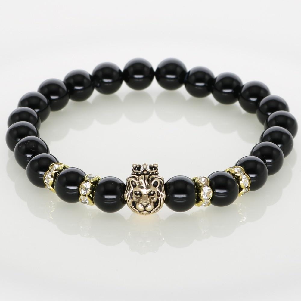 Gold Lion Charm Bracelets Black Agate Howlite 8MM Gemstone Elastic Adjusted Length For Lucky Men Women Fashion Jewelry NB06