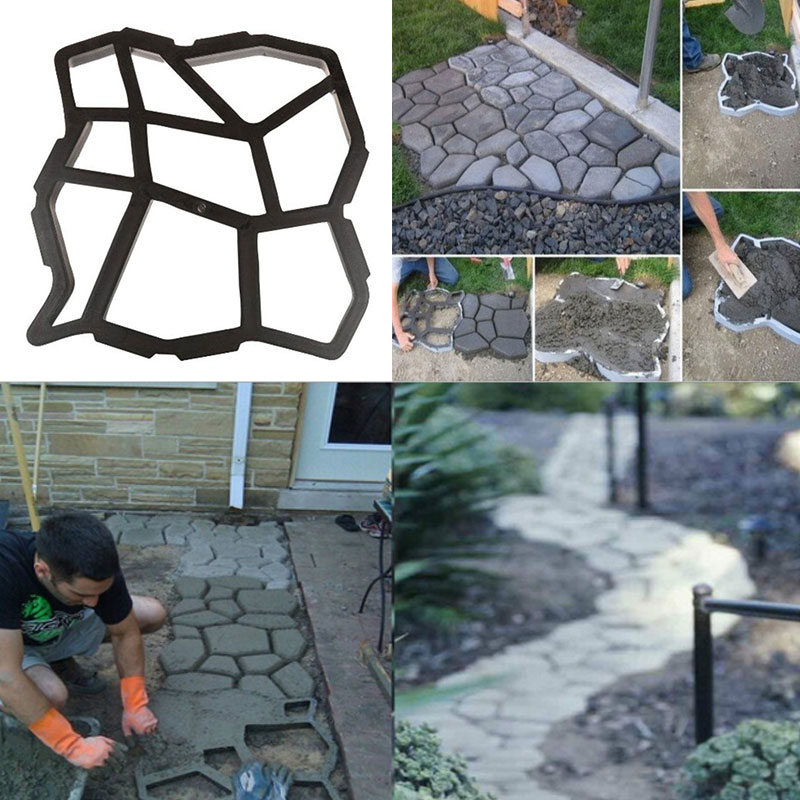 Driveway Paving Mold Patio Concrete Garden Walk Path Stepping Stone - Garden Supplies