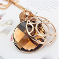SHDEDE Women Round Pendant Necklace Wholesale Vintage Long Sweater Chain Necklace Gold Plated Charm Jewelry 7472
