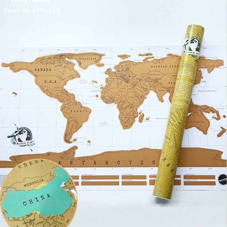 Aliexpress Com Buy World Scratch Map Around The World Map Wall Poster Home Decor Travel Map Recording Retro Design Paper Novelty Gift 82 58cm From
