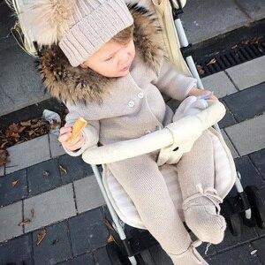 Image 3 - Combinaison de luxe avec col en fourrure de raton laveur, tricotée à capuche, vêtements à capuche pour bébés filles et garçons, barboteuses pour bébés, Vintage