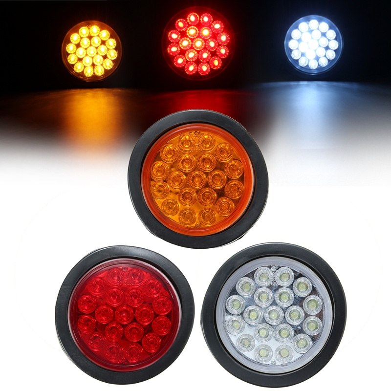 Red Yellow White 19 LED Car Round Tail Lights Turn Signal Light ATV LED Reflectors Truck Side Mark Indicator Warning Lights