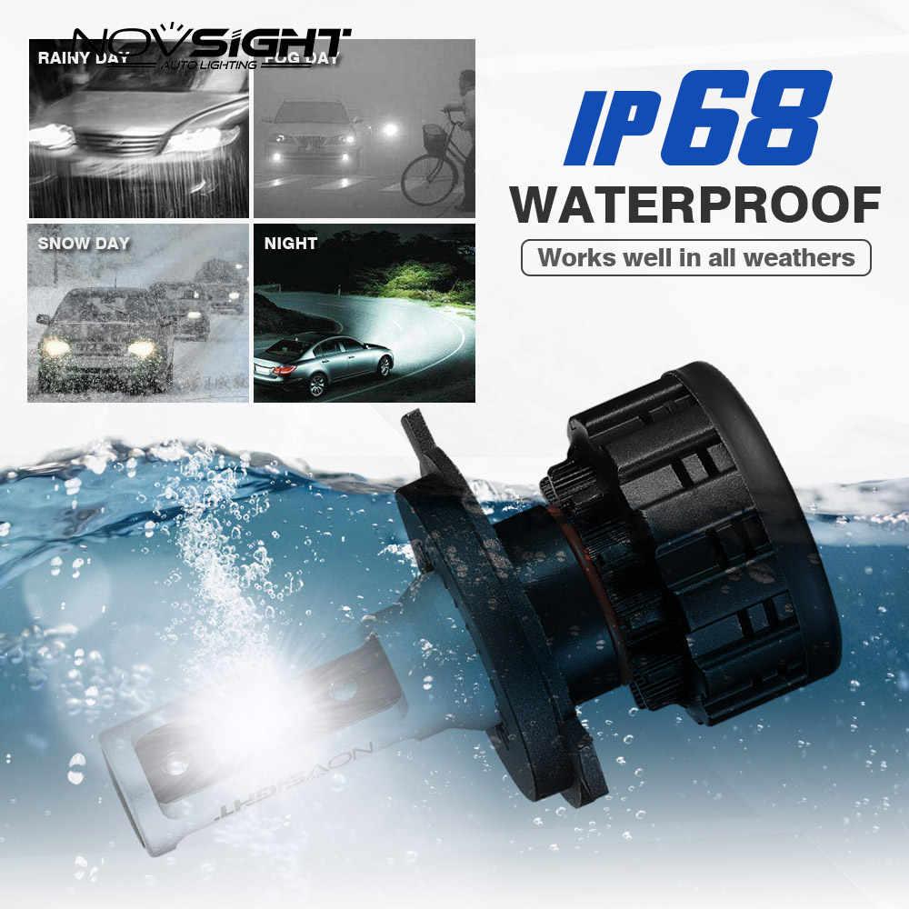 NOVSIGHT Super small LED headlight bulbs H4 LED H1 H7 H11 H8 9005 9006 60W 16000LM 6500K  led lamp with lens 12v 24v car lights