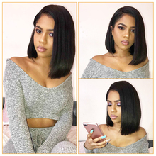 Lace Front Human Hair Wigs Short Bob Wigs Brazilian Remy Hair Glueless Pre Plucked Silky For Women 150% 13×4 Natural Black Color