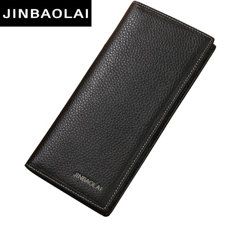 JINBAOLAI Brand Men Wallet Genuine Leather Long clutch wallets for men Cowh..