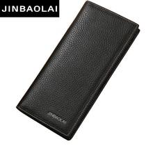 Men Wallet Genuine Leather Long Clutch Wallets For Men Bifold Leather Wallet