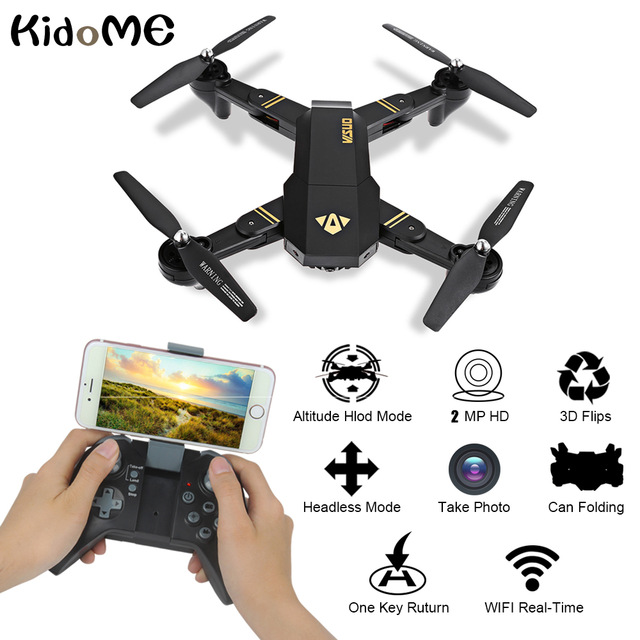 RC Helicopter XS809W Mini Foldable Drone with 2.0MP Camera HD RTF RC Selfie Drone Wifi FPV Altitude Hold Mode With Extra battery