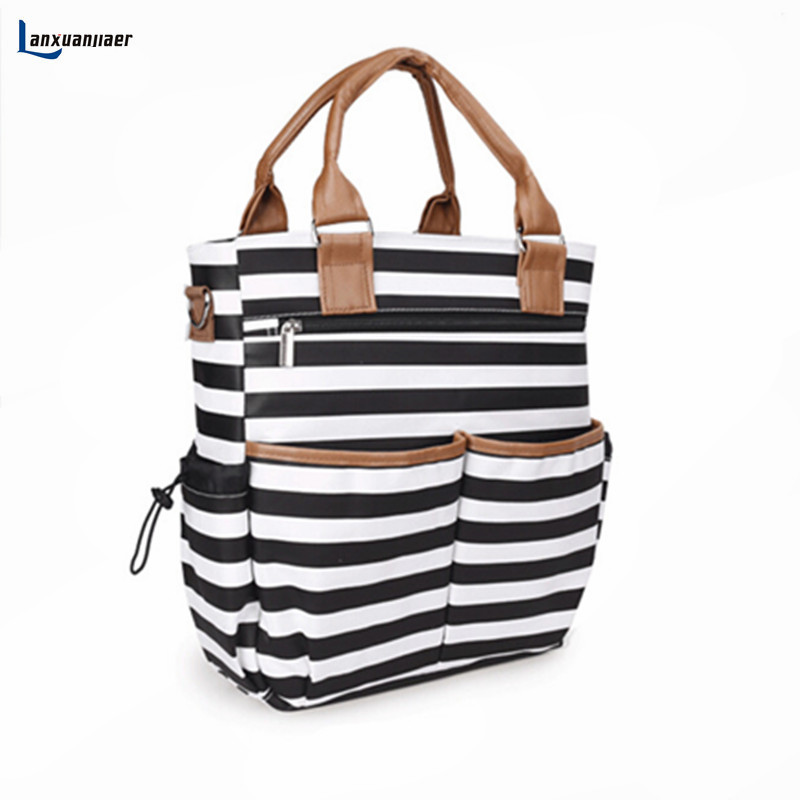 Lanxuanjiaer baby diaper  Nappy Bags fashion stripe Organizer Multifunctional large capacity mummy tote Nursing bag for Mom