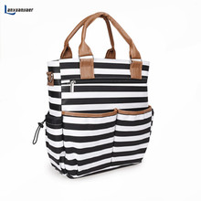 Lanxuanjiaer baby diaper Nappy Bags fashion stripe Organizer Multifunctional large capacity mummy tote Nursing bag for Mom
