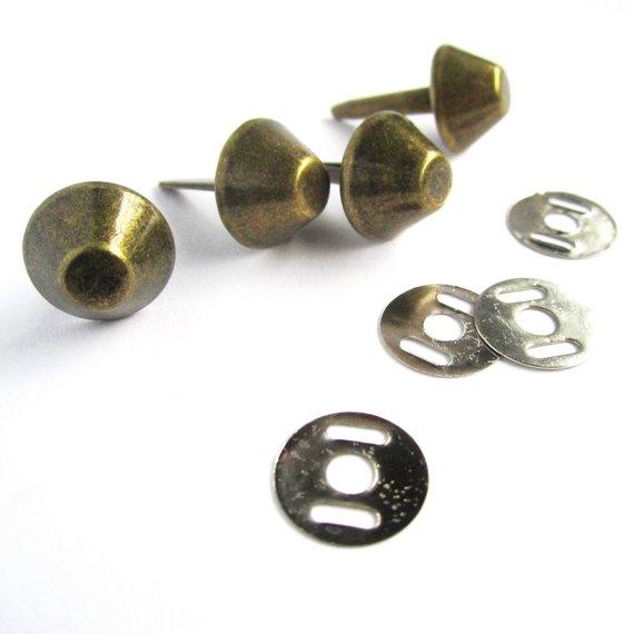 12mm bag bolsa pés unhas rebites-, Ouro, prata ou bronze