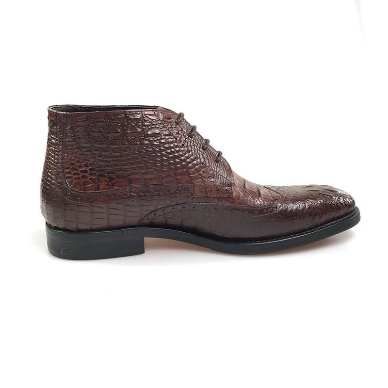 Crocodilo Vestem Clássico Brown Grimentin De Busienss Os Se Botas Couro Formais Homens Sapatos Do Genuíno Vintage qwt7HwS