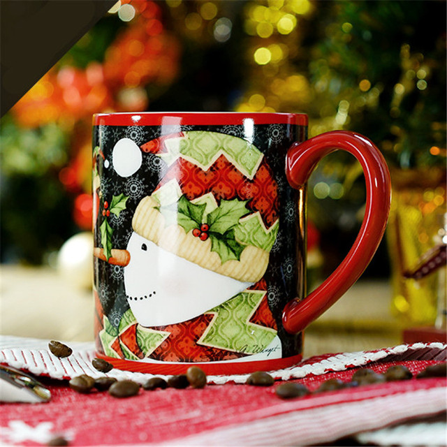 Snowman Coffee Milk Tea Mugs Cute Cartoon Cup Christmas Couples Morning Cup Office Breakfast Water Cups Drinkware Xmas Gifts