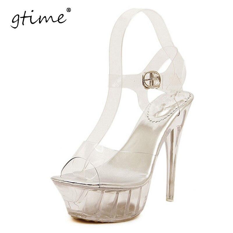 Gtime 2017 النساء أحذية عالية الكعب الصنادل مثير الكريستال الشفاف اللمحة تو أحذية عالية منصة 14 سنتيمتر زائد الحجم 35-43 # ZWS131
