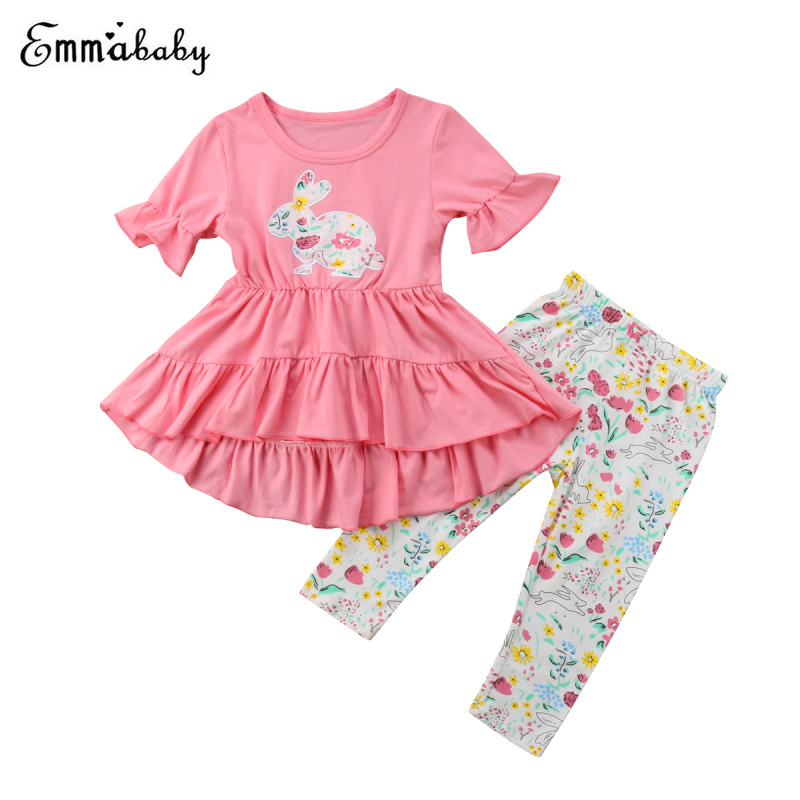 37fb38d88 My 1st Easter Newborn Baby Girl Clothes 2pcs Set Ruffle Dress Rabbit Top  Long Pants Cotton Outfits Clothes-in Clothing Sets from Mother & Kids on ...
