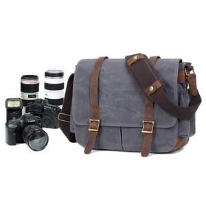 Image 2 - Waterproof Batik Canvas+Leather Camera Bag with Photo Pouch Vintage DSLR Case Casual Shoulder Messenger Photography Bag